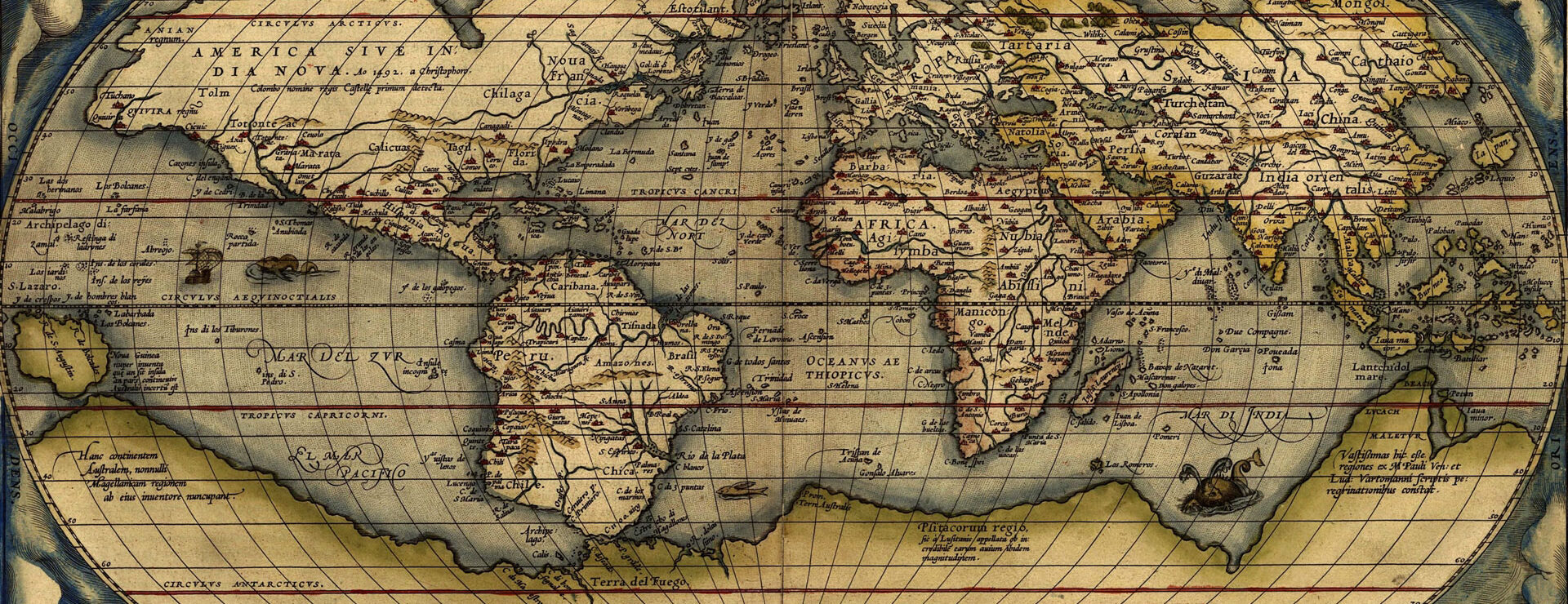 When people still believed in sea dragons and the concept of travelling to distant exotic places had a mysterious and adventurous allure... Theatrum Orbis Terrarum, by Dutchman Abraham Ortelius, is regarded as the first modern atlas, and this is his depiction of the world (1570 CE).