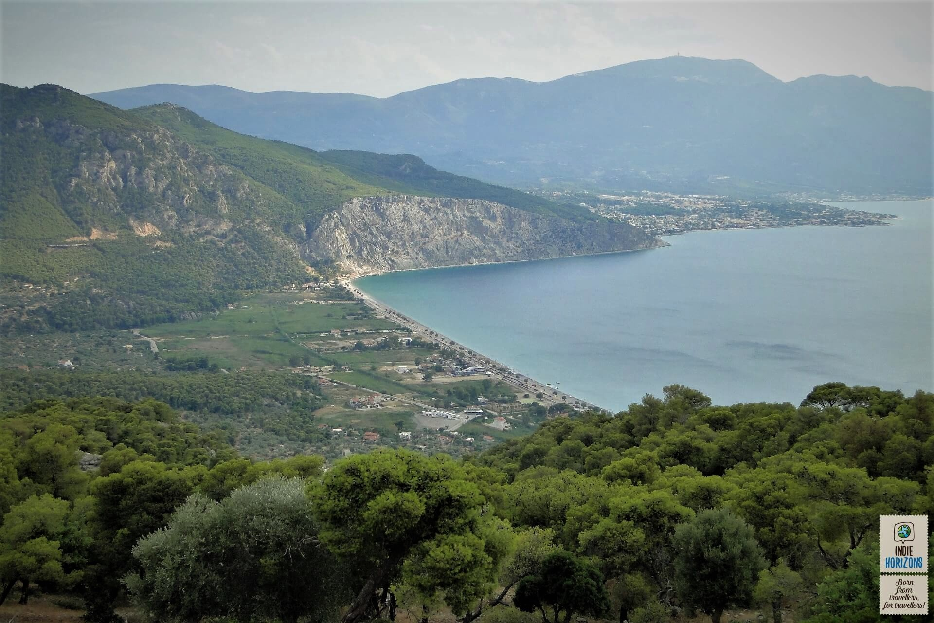 Combine green and blue at the far shores of the Corinthian Gulf.